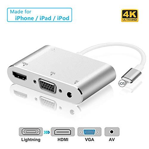 Micoo Adaptador de Teléfono a HDMI VGA, Convertidor de Adaptador AV Digital 4 en 1 4K UHD, Adaptador para iPhone X / 8/8 Plus / 7 / 7Plus / 6 / 6s / 6s Plus / 5 / 5s Pad Pod a Proyector HDTV