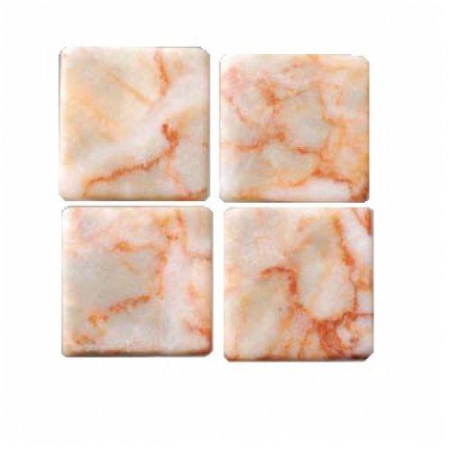 MosaixPur 20x 20x 4mm 200g 45-TLG. Natur Stein Mosaik Fliesen, rot/weiß Marmor