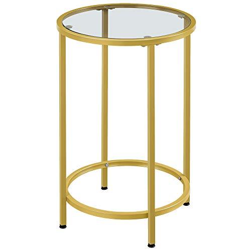 Yaheetech Beistelltisch rund, Glastisch mit goldenem Metallgestell, Kleiner Couchtisch, Nachttisch, Sofatisch, Robustes Hartglas, Ø 40 x 60 cm