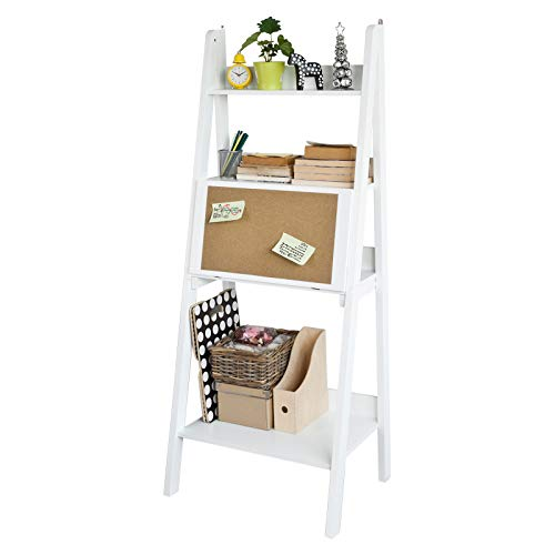 SoBuy FRG115-W Modernes Bücherregal mit Schreibtisch Standregal Wandregal mit Korktafel klappbar weiß BHT ca.: 64x160x28(61) cm