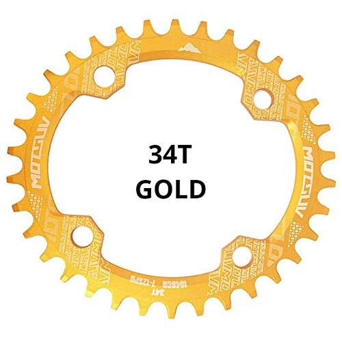 Denkqi 104BCD Oval Estrecho Ancho Chainring MTB for Bicicleta 32T 34T 36T 38T Juego de bielas de Piezas Individuales de Placas de Dientes 104 BCD (Color : Gold 34T Oval)