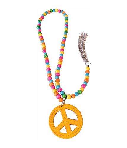 Forum Novelties X74905 74905 Friedenszeichen Halskette aus Holz, unisex-adult, Mehrfarbig, Einheitsgröße