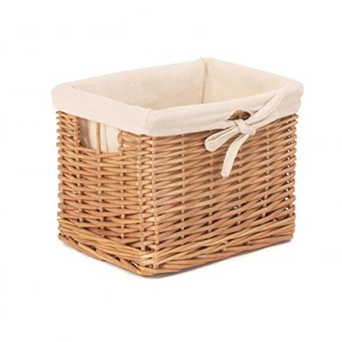Red Hamper Small Deep Storage Wicker Basket with Cotton Lining