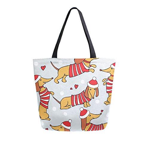 Naanle Weihnachtliche Segeltuch-Tragetasche für Damen, lässig, Schultertasche, Handtasche, Dackel, Hund, wiederverwendbar, strapazierfähig, Einkaufen, Baumwolltasche für Draußen.