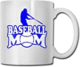 Taza de café blanca de cerámica única con silueta de mamá de béisbol, taza de té para la oficina, hogar, diversión, novedad, regalo, taza de bebida divertida de 11 oz para hombres y mujeres