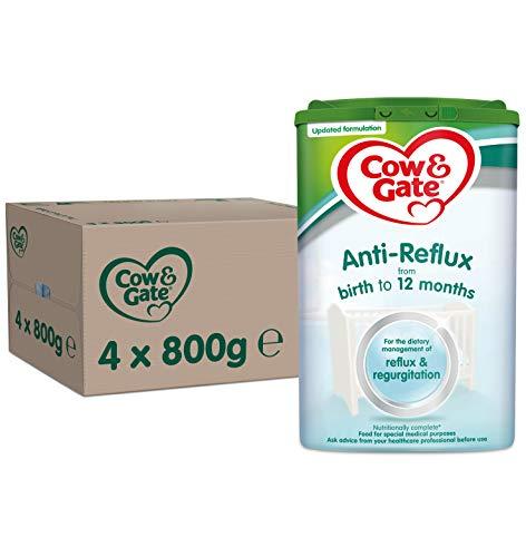 Cow & Gate Anti-Reflux Baby Milk Powder Formula, from Birth, 800g (Pack of 4)