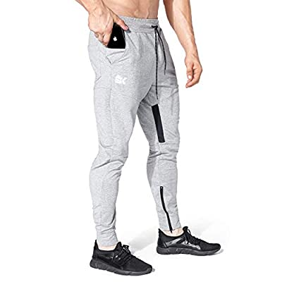 BROKIG Mens Thigh Mesh Gym Jogger Pants, Men's Casual Silm Fit Workout Bodybuilding Sweatpants with Zipper Pockets (Gray,M)