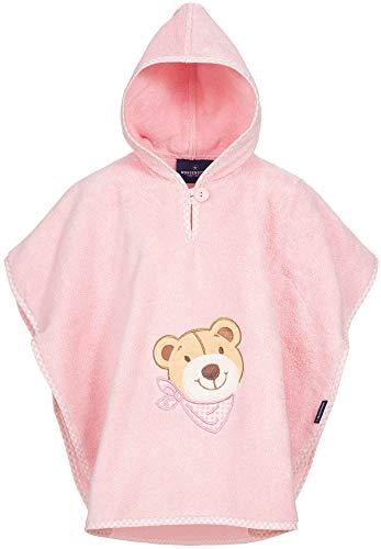 Morgenstern Babyponcho Kapuzenponcho Kinder Poncho Badetuch Rosa Frottee mit Bär