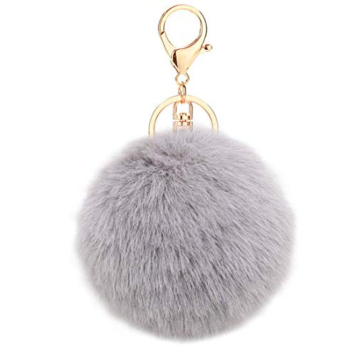 Grau Pom Pom Schlüsselbund Kunstfell Ball Schlüsselbund Flauschige Accessoires Auto Tasche Charme Handy Charme Anhänger Schlüsselbund