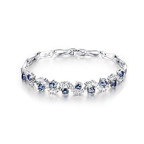Bracciale tennis con zirconi blu zaffiro, cristalli austriaci, bracciale placcato oro bianco 18ct, da donna, lungo 17cm
