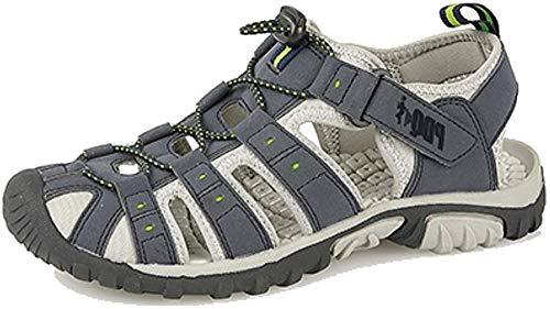 PDQ Męskie sandały przestawne i dotykowe z sportowymi szlakami, - Granatowa limonka - 46 EU
