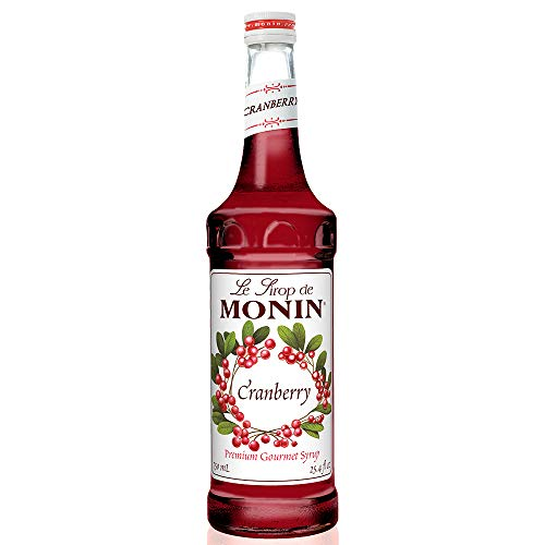 Monin - Cranberry Syrup, Tangy and Sweet Berry Flavor, Natural Flavors, Great for Margaritas, Cocktails, Hot and Cold Berry Teas, Lemonades, and Sodas, Vegan, Non-GMO, Gluten-Free (750 Milliliters)