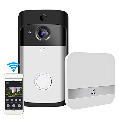 Video Doorbell, GEREE WiFi Smart Wireless Doorbell 720P HD Security Camera Real-Time Video and Two-Way Talk, Night Vision, PIR Motion Detection App Control for iOS and Android