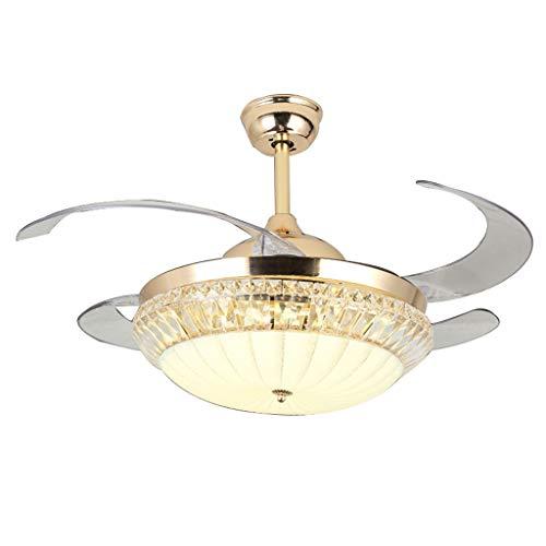 Luxe plafondventilator, voor woonkamer, mooi licht, ventilator, stil, ventilator van kristal, A+ 108 * 58cm Goud