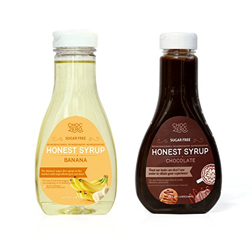 ChocZeros Chocolate Syrup and Banana Syrup. Sugar Free, Low Net Carb, No Preservatives. Gluten Free. No Sugar Alcohols. Good ice cream topping (2 bottles)