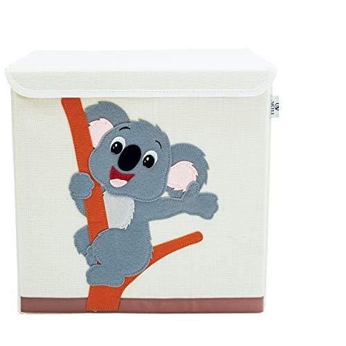 Artli Aufbewahrungsbox Kinder Spielzeug I Spielzeugkiste mit Deckel für das Kinderzimmer I Box Spielzeug Aufbewahrung Kallax Regal Koala 33x33x33cm