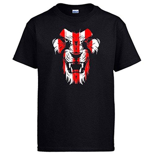 Diver Camisetas Camiseta Cara león Colores para Aficionados del fútbol de Bilbao - Negro, XL
