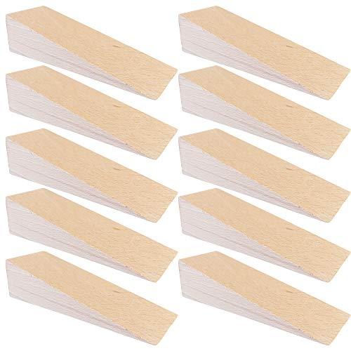 haggiy Cuñas de madera dura - Cuñas hechas de haya natural(LxAxAlt.) 150 x 50 x 40 mm (10 Unid.)