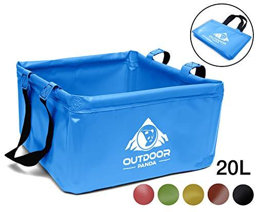 Outdoor Panda: Outdoor – Cuenco plegable de 15 litros – Lavabo plegable de lona resistente – Ahorra espacio y ligera alternativa a la bandeja de plástico y fregadero, Azul 20L