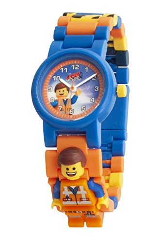 Armbanduhr Lego Movie 2 - Emmet, inklusive 12 zusätzlichen Armbandgliedern, Lego Minifigur im Armband integriert, analoges Ziffernblatt, kratzfestes Acrylglas