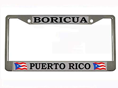 Boricua Puerto RICO Chrome Metal Auto License Plate Frame Car Tag Holder