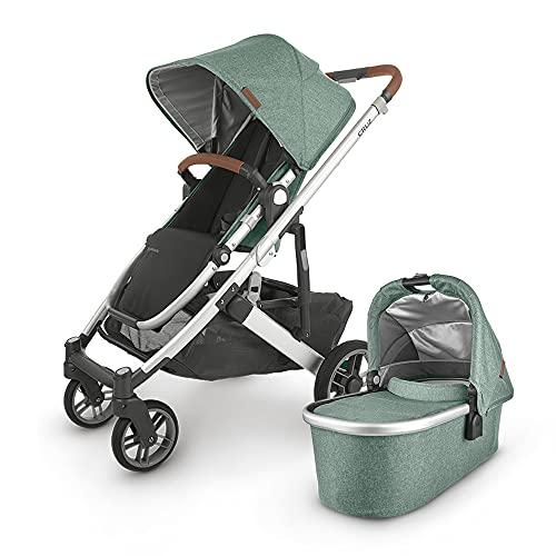 UPPAbaby Cruz V2 Stroller - Emmett (Green Melange/Silver/Saddle Leather) + Bassinet - Emmett (Green Melange/Silver)
