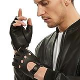 Fingerless Leather Gloves Men - NOVBJECT Driving Gloves Deerskin Unlined Half...
