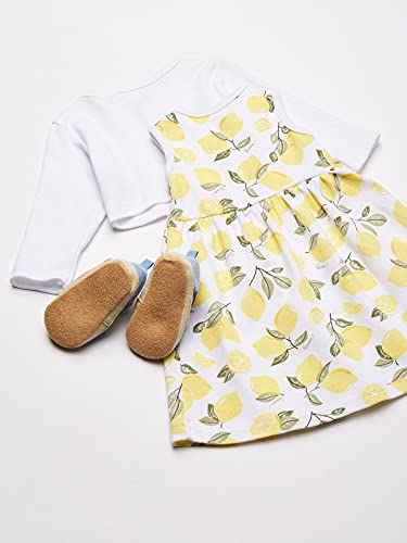 Hudson Baby Baby Girls' 3 Piece Dress, Cardigan, Shoe Set, Lemons, 3-6 Months