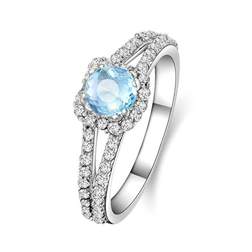 AmDxD Anillo Compromiso Cristal, Anillo 925 Mujer Redonda 5.25X5.25MM Azul Topacio con Circonita Blanco | Plata| Tamaño 8| Regalo San Valentín (Circunferencia 48 mm)