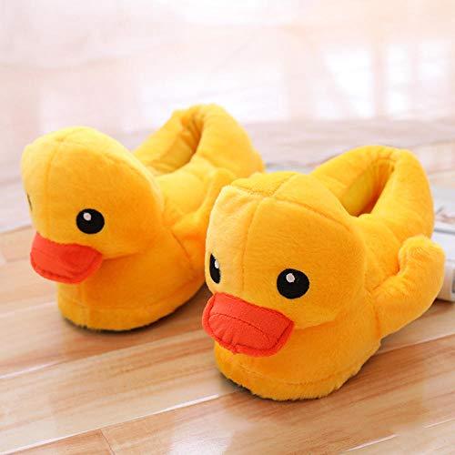SHOESESTA Pantoffeln Plüsch Plüschpantoffeln gelbe Ente Männer Damen Frauen Winter Taschenabsatzschuhe rutschfeste Wärme Freizeit Bodenschuhe Paarschuhe - Damengröße (35-39)