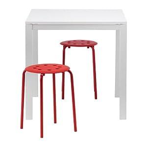 IKEA MELLTORP / MARIUS - mesa y 2 taburetes, blanco, rojo - 75 cm