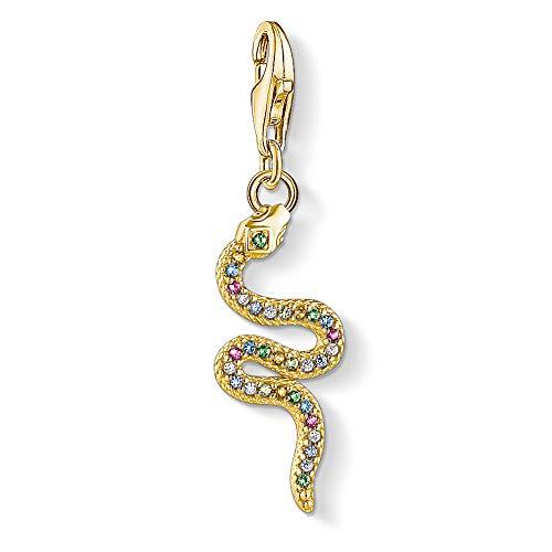 Thomas Sabo Damen-Charm-Anhänger Farbige Schlange 925 Sterlingsilber gelbgold vergoldet 1813-488-7