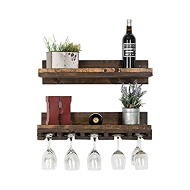 Floating Wine Shelf and Glass Rack Set (Wall Mounted), Rustic Pine Wood Handmade by del Hutson Designs (6H x 24W x 10D, Walnut)