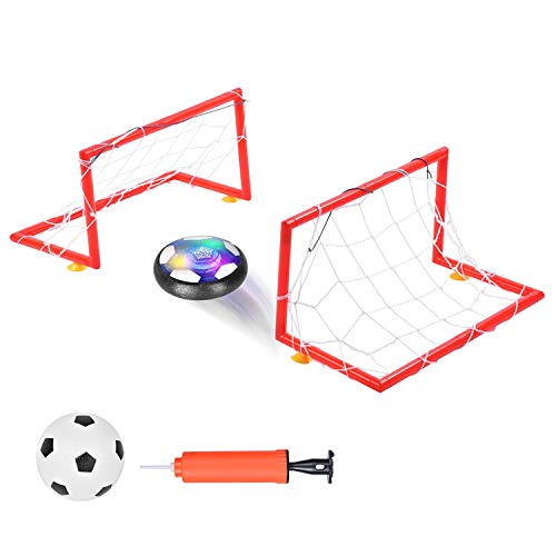 Ulikey Air Power Fußball Set, Air Power Soccer Fußball mit Fußballtor LED Beleuchtung und Musik, Air Power Football Fussball Fußballspielen für drinnen und draußen