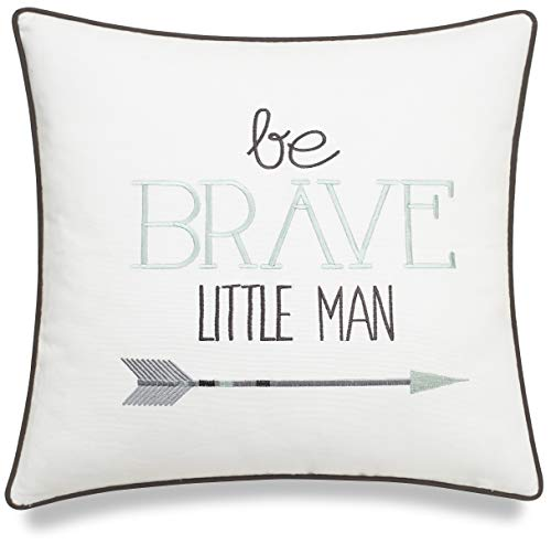ADecor Pillow Covers Be Brave Little Man Pillow Cases Embroidered Pillow Children Pillow Cases Boys Bedding Birthday Gift Quote Pillowcases P357 (18X18, Ivory)