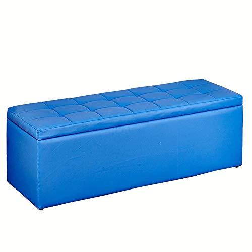 WHOJA Baúl Almacenamiento Plegable Sofá Multifuncional Banco de Zapatos para Adultos Cuero de PU Cómodo y fácil de Limpiar Almacenamiento de Gran Capacidad 120x40x40cm Otomanos (Color : Blue)