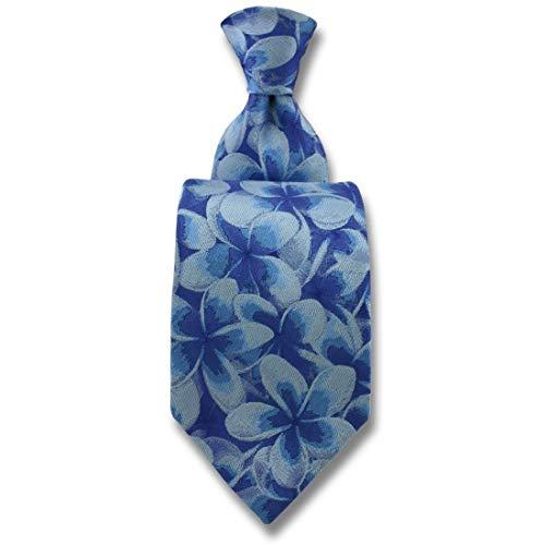 Robert Charles. Cravate. Frangipani, Soie. Bleu, Fantaisie. Fabriqué en Italie.