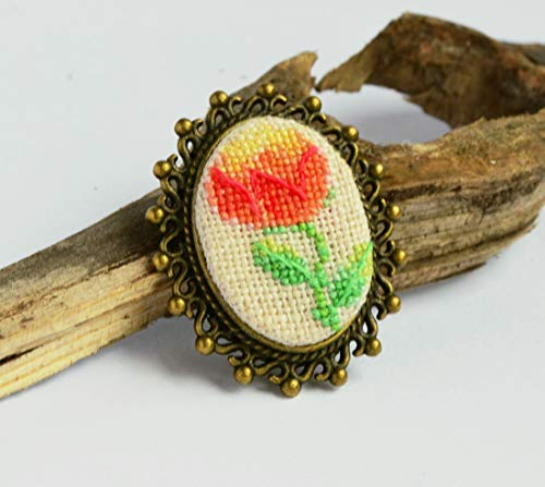 Red peony embroidered brooch, Cross stitch floral jewelry, Handcrafted nature gift for woman