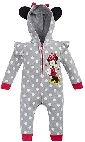 Disney Baby Girls Minnie Mouse One Piece Hooded Footless Romper Jumpsuit, Size 6-9 Months, Heather Grey Minnie