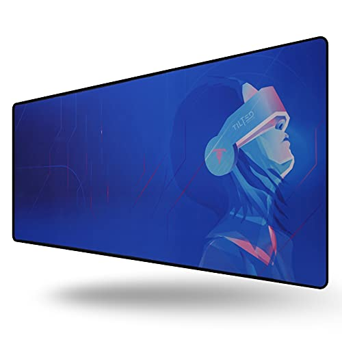 Tilted Nation Extended Gaming Mouse Pad Large - Mice and Keyboard Mat with Non-Slip Game Mousepad Base - Easy to Clean, Water Resistant Desk Pads for Mac PC Gamers (Cyberpunk Anime Style)