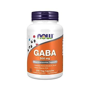 NOW Supplements GABA  Gamma-Aminobutyric Acid  500 mg + B-6 200 Count Veg Capsules