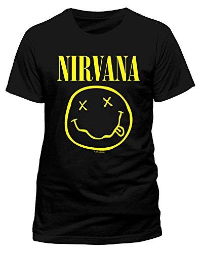 Nirvana Smiley Hombre Camiseta Negro 5XL, 100% algodón, Regular
