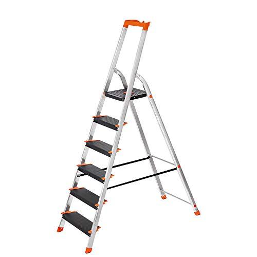 SONGMICS Leiter 6 Stufen, Aluleiter, 12 cm breite Stufen, Stehleiter, Werkzeugschale, Klappleiter, rutschfest, max. statische Belastbarkeit 150 kg, TÜV Rheinland GS-Zertifikat, erfüllt EN131 GLT06BK