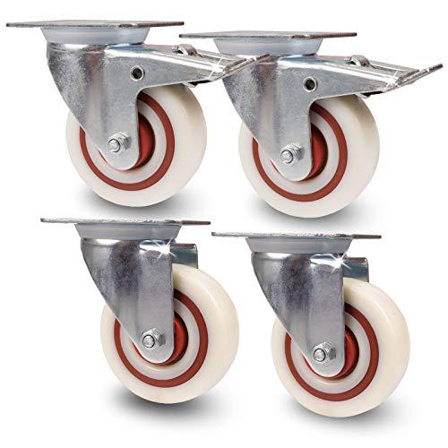 Transportrollen im Set | Schwerlastrollen - Kunststoffrollen | Max. 180Kg/Rolle | Lenkrollen + Lenkrollen mit Bremse | Industrierollen | spurloses Abrollen