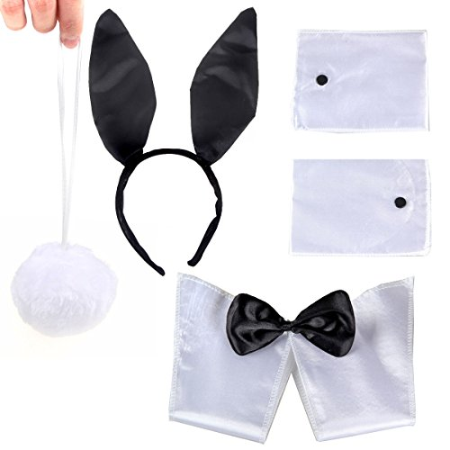 Bunny Black White Ears Collar Bowtie Cuffs Tail Costume Set For Adults Funny Party