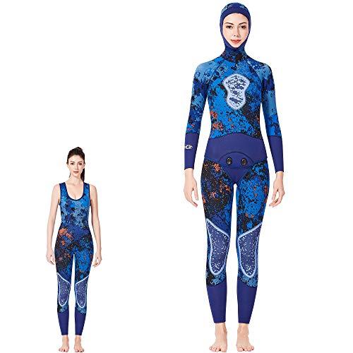 DUBAOBAO Duikpak tweedelig pak, warme zonnebrandcrème waterdichte moeder, camouflage neopreen surfen wetsuit, geschikt voor mannen en vrouwen 3MM duikpak,
