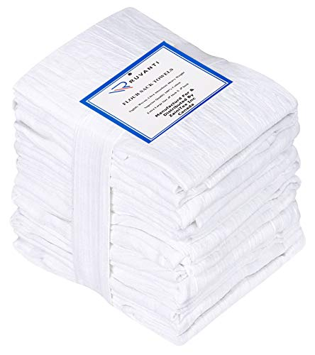 Ruvanti 12 Pack Extra Large Flour Sack Dish Towels (28' X 28') Highly Absorbent Kitchen Towels/Tea Towels - 100% Cotton Multi-Purpose Towels for Embroidery. Cleaning Cloth/Dish Towels/Bar Towels.