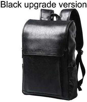 Men Canvas Backpack Large Size Student 14 inch Laptop JASONTUTU Brand Design Pu Leather Black B06