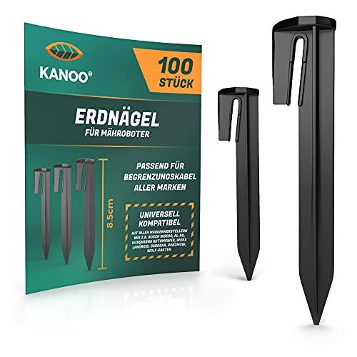 kanoo® Erdnägel für Mähroboter Begrenzungskabel – 100x Erdhaken für sicheres Fixieren von Begrenzungsdraht im Garten – stabile Erdspieße aus Kunststoff für schnelle Montage im Boden