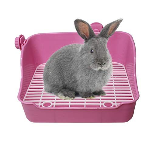 kathson Small Animal Litter Cage Potty Trainer Corner Litter Bedding Box Pet Pan Toilet Ideal for Rabbit, Bunny, Chinchilla, Ferret, Guinea Pig, Hamster(Pink)